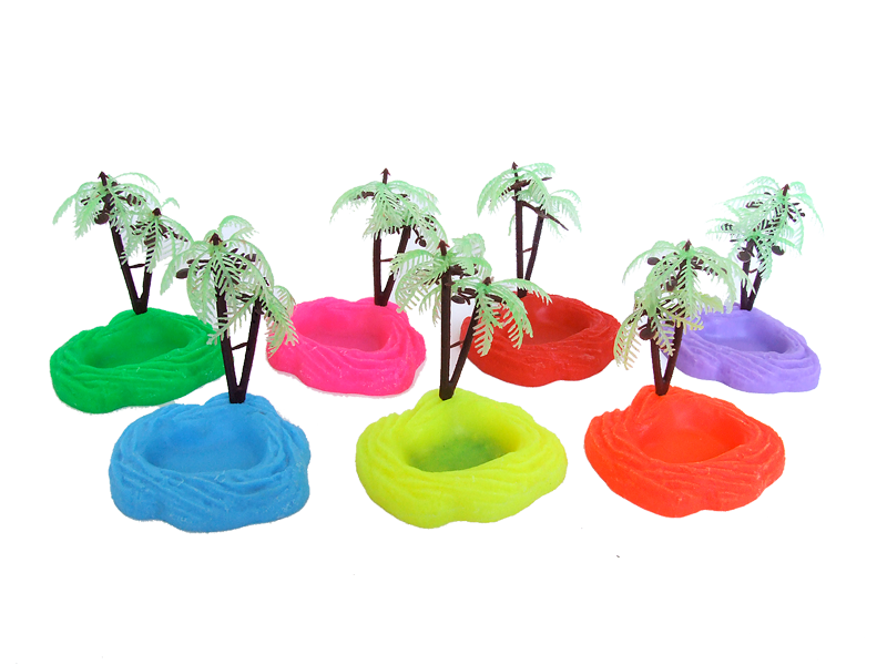Neon Food/Water Bowls with Palm Tree